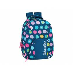 CARTERA ESCOLAR SAFTA BENETTON TOPOS MARINO MOCHILA ADAPTABLE A CARRO 320X135X440 MM
