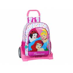 CARTERA ESCOLAR CON CARRO SAFTA PRINCESAS BE BRIGHT 330X150X420 MM