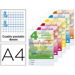 Libreta marca Liderpapel Pautaguia Tapa cartoncillo 32 hojas Din A4 70 g cuadriculado pautado 4 mm Colores surtidos