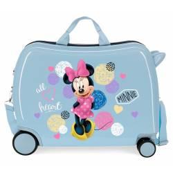 Maleta infantil 2 ruedas multidireccionales Enjoy Minnie Heart Azul