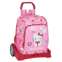 MOCHILA ESCOLAR SAFTA CON CARRO HELLO KITTY BALLON 310X140X410 MM