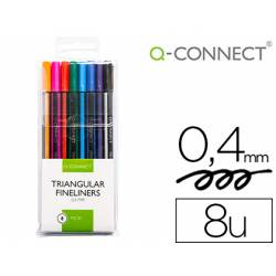 Rotulador Q-Connect Punta de fibra fine 0,4 mm colores surtidos Pack 8 unidades