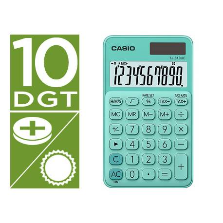 Calculadora Bolsillo Casio SL-310UC-GN 10 digitos Verde