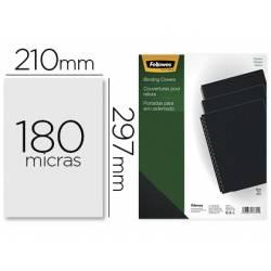 Tapa de Encuadernacion PVC Fellowes DIN A4 Color Opaco Negro 180 micras pack 100 uds