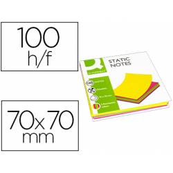 Bloc de notas magneticas quita y pon Q-Connect 70x70 mm 5 colores fluorescentes
