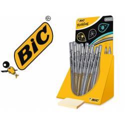 Rotuladores BIC permanentes plateados y dorado con expositor 24 unidades
