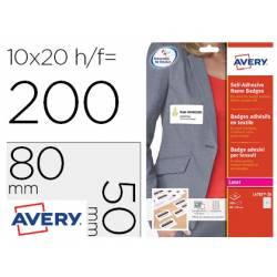 Etiqueta adhesiva Avery 80x50 mm Acetato de Seda removible láser caja de 100