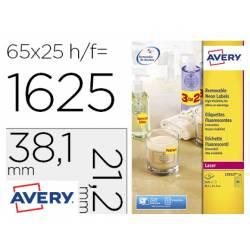 Etiqueta adhesiva Avery 38,1x21,2 mm Amarillo fluorescente Removible caja 1625 unidades