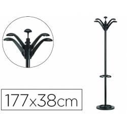 Perchero metalico de Unilux Flora con paragüero negro
