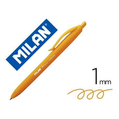 Bolígrafo retráctil milán P1 de color naranja 1 mm