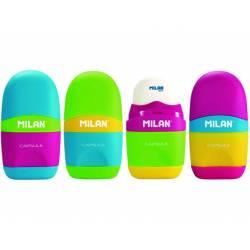 Sacapuntas Milán plástico con goma modelo capsule (NO SE PUEDE ELEGIR COLOR)
