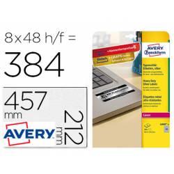 Etiqueta Adhesiva Avery 45,7x21,2 mm Poliester Color Plata Caja de 8 hojas