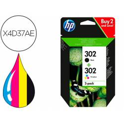 Cartucho HP 302 Pack 2 cartuchos Color Negro y Tricolor X4D37AE