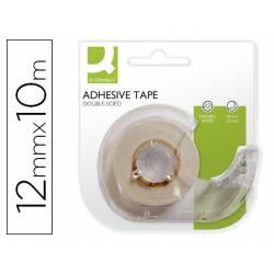Cinta adhesiva doble cara marca Q-Connect 10 mt x 12 mm con portarrollo