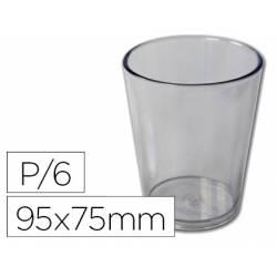 Vaso ABS transparente 95x75 mm con borde grueso redondeado