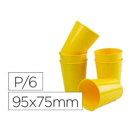 Vaso ABS amarillo 95x75 mm con borde grueso redondeado