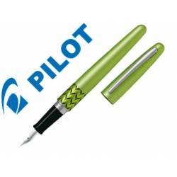 Pluma Pilot Urban MR Retro Pop Plumín Metálico con Estuche Color Verde Claro