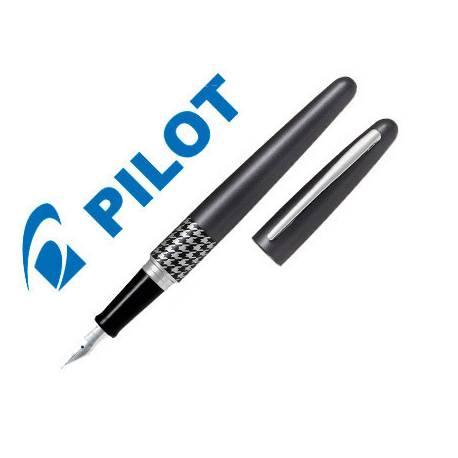 Pluma Pilot Urban MR Retro Pop Plumín Metálico con Estuche Color Gris