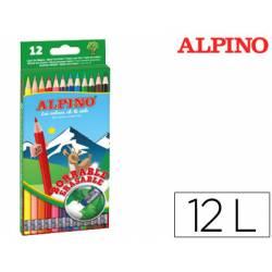 Lapices de Colores Alpino Borrables con Goma Hexagonales de Colores Surtidos Caja de 12 unidades