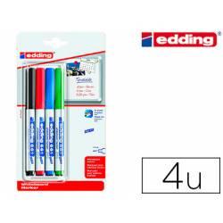 Rotulador para Pizarra Blanca Edding 661 Recargable de Colores Surtidos Blister de 4 unidades