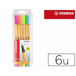 Rotulador Stabilo Point 88 Pack 6 Colores surtidos Neon