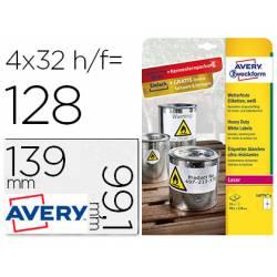 Etiqueta Adhesiva Avery 99,1x139 mm Poliester Color Blanco Caja de 8 hojas