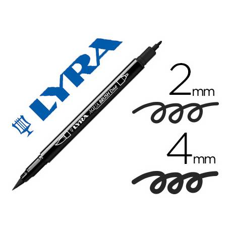 Rotulador Lyra aqua brush acuarelable doble punta fina y pincel negro