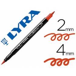 Rotulador Lyra aqua brush acuarelable doble punta fina y pincel carmin oscuro