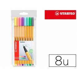Rotulador Stabilo Punta Fibra Point 88 Estuche de 8 Colores Pastel