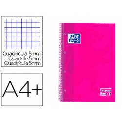 Cuaderno Oxford Ebook 1 DIN A4+ Rosa Frambuesa 80 hojas Tapa Extradura Cuadricula 5 mm