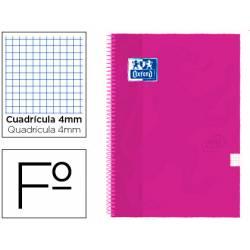 Cuaderno Oxford Folio Frambuesa Tapa Extradura Cuadrícula de 4 mm