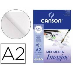 Bloc Dibujo Multitecnicas Canson DIN A2 Encolado Liso