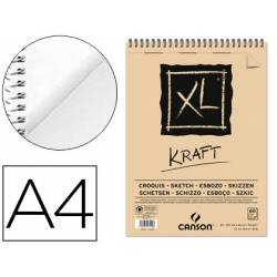 Bloc Dibujo Kraft Canson XL DIN A4 Verdujado Microperforado Espiral Rayado