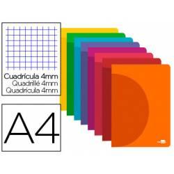 Libreta Liderpapel Serie 360 A4 cuadricula 4mm 48 hojas tapa plastico colores surtidos