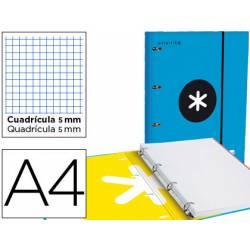 Carpeta con recambio Antartik A4 4 anillas 40 mm de Carton forrado color Azul y solapa