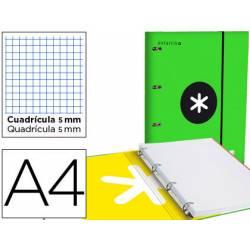 Carpeta con recambio Antartik A4 4 anillas 40 mm de Cartón forrado color Verde con solapa