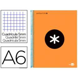 Bloc Antartik A6 cuadricula 5mm tapa Forrada 100 hojas 100g/m2 naranja 4 bandas color