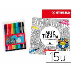 Rotulador Stabilo Punta de Fibra 68 Arte Terapia 15 colores surtidos+libro mandala