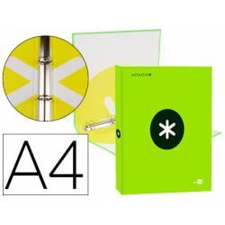 Carpeta 4 anillas 25mm Liderpapel Antartik A4 color verde carton forrado