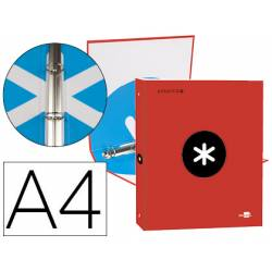 Carpeta 4 anillas 25mm Liderpapel Antartik A4 color rojo carton forrado