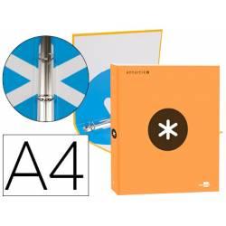 Carpeta 4 anillas 25mm Liderpapel Antartik A4 color naranja carton forrado