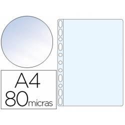 Funda Multitaladro Q-Connect DIN A4 80 MC Cristal con 100 ud. por caja