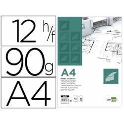 Papel Vegetal Liderpapel DIN A4 90G/m2 12 hojas