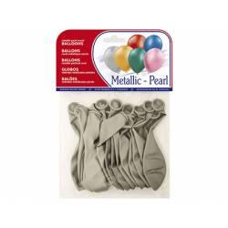 Globos Metalizados Plata Bolsa de 15 unidades