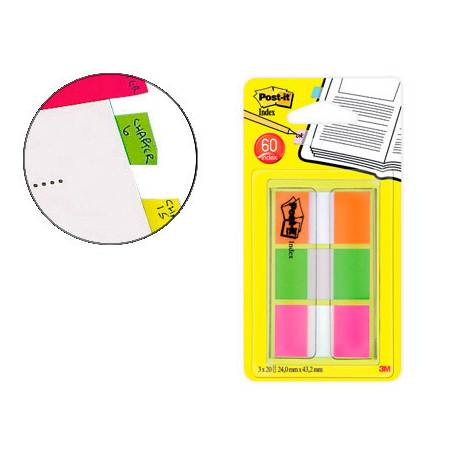 Banderitas Post-it ® Separadoras Index Medianas Colores Naranja, Rosa, Verde