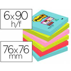 Bloc Quita y Pon Post-It ® Super Sticky 76X76 mm Colores Miami