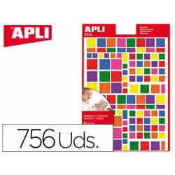 Gomets APLI autoadhesivo cuadrados multicolor blister de 6 hojas