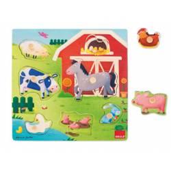 Puzzle a partir de 2 años Mamás y Bebés Granja 7 piezas Goula