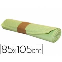Bolsa basura amarilla 85x105cm uso industrial galga 110 rollo 10 unidades
