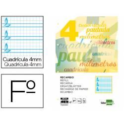 Recambio Liderpapel folio pautaguia cuadriculado 4mm